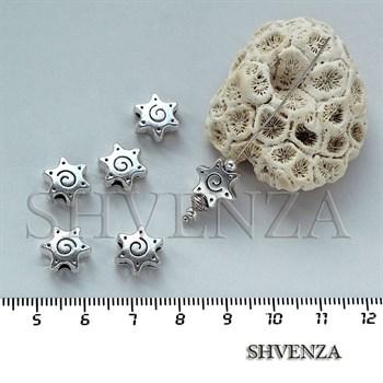 Металлические бусины звёздочки цвет серебро 007-029 - фото 7534