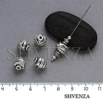 Металлические бусины цвет античное серебро 007-057 - фото 7708
