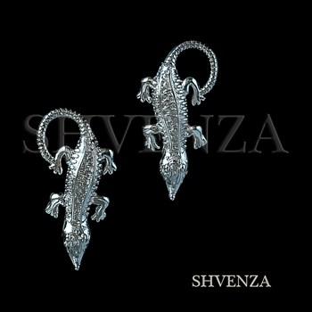 Швензы Крокодил родиевое покрытие цвет серебро английский замок 017-080 - фото 7760