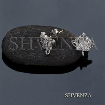 Пуссеты - гвоздики Корона цвет серебро 004-063 - фото 7815