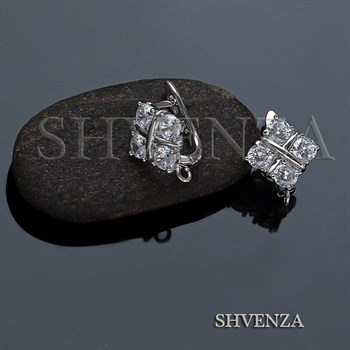 Швензы родиевое покрытие английский замок цвет серебро 014-250 - фото 7939