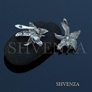 Швензы родиевое покрытие английский замок цвет серебро 014-260 - фото 8016
