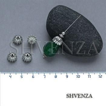 Шапочки для бусин родиевое покрытие цвет серебро 021-128 - фото 8100