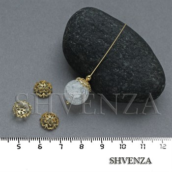 Шапочки для бусин родиевое покрытие цвет золото 021-129 - фото 8102