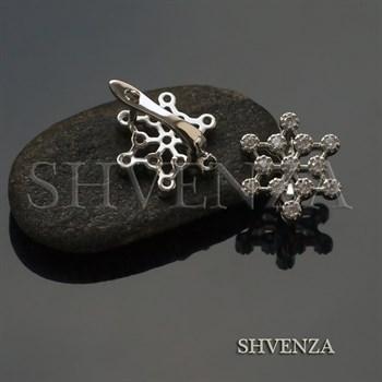 Швензы Снежинки родиевое покрытие цвет серебро английский замок 014-262 - фото 8174