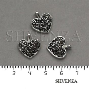Подвеска металлическая Сердце цвет серебро 005-029 - фото 8246