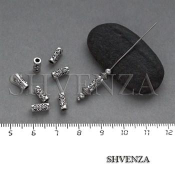 Металлические бусины трубочки цвет античное серебро 007-071 - фото 8274
