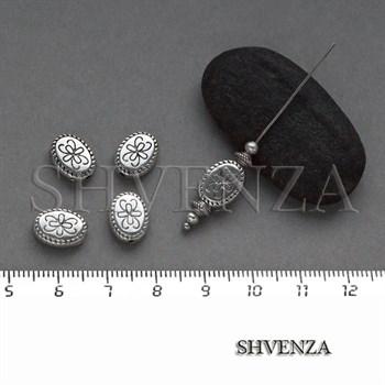 Металлические бусины овал античное серебро 007-086 - фото 8305