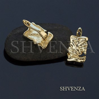 Швензы родиевое покрытие цвет золото английский замок 017-112 - фото 8370