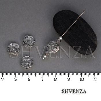 Металлические бусины Цветок цвет античное серебро 007-111 - фото 8433