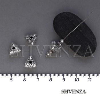Металлические бусины треугольники цвет античное серебро 007-113 - фото 8437