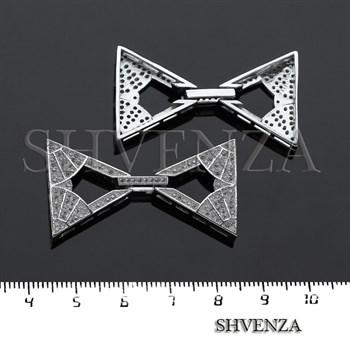 Замочек с фианитами цвет серебро 011-025 - фото 8502
