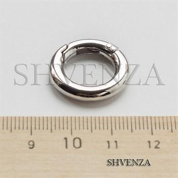 Замочек круглый с покрытием родием цвет серебро 011-031 - фото 8564