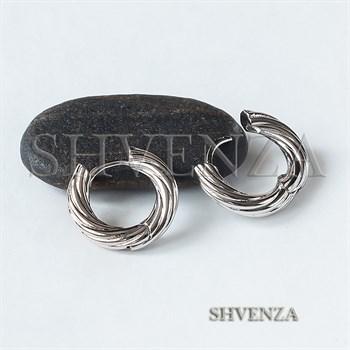Швензы-бублики для серёжек-трансформеров родиевое покрытие цвет серебро 017-119 - фото 8576