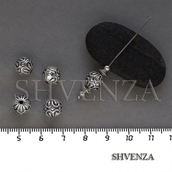 Металлические бусины цвет античное серебро 007-130 - фото 8637