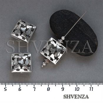 Металлические бусины ажурные цвет античное серебро 007-137 - фото 8653