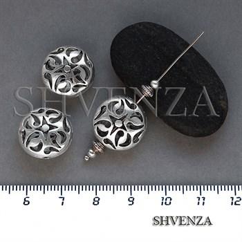 Металлические бусины ажурные цвет античное серебро 007-138 - фото 8656