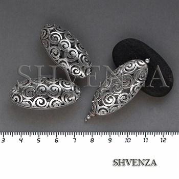 Металлические бусины ажурные крупные цвет античное серебро 007-139 - фото 8659
