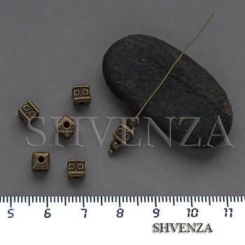 Металлические бусины кубики цвет бронза 007-148 - фото 8680