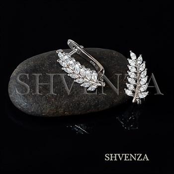 Швензы Листочки родиевое покрытие цвет серебро английский замок 014-275 - фото 8695