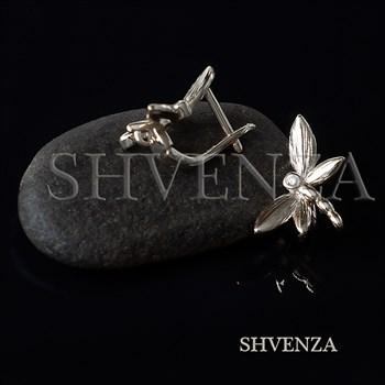 Швензы Стрекозы родиевое покрытие цвет серебро английский замок 014-276 - фото 8697