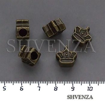 Металлические бусины Корона в стиле Пандора крупные цвет бронза 007-156 - фото 8720