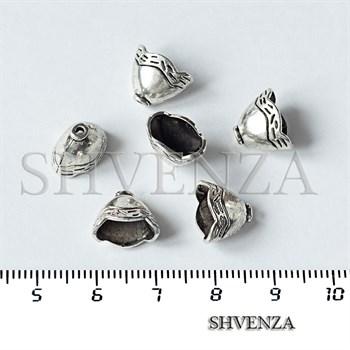 Шапочки для бусин концевики конусы цвет античное серебро 001-135 - фото 8803