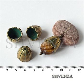 Шапочки для бусин концевики конусы крупные цвет бронза 001-138 - фото 8809