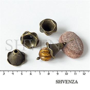 Шапочки для бусин концевики конусы крупные цвет бронза 001-139 - фото 8811