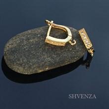 Швензы родиевое покрытие цвет золото английский замок 013-023