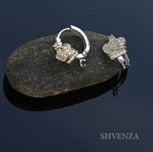 Швензы родиевое покрытие колечки цвет серебро 014-034