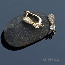 Швензы родиевое покрытие цвет золото английский замок 013-036