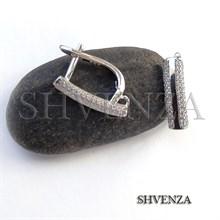 Швензы родиевое покрытие цвет серебро английский замок 014-209