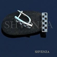 Швензы родиевое покрытие цвет серебро английский замок 014-218