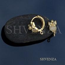 Швензы совы родиевое покрытие цвет золото колечки 013-134