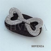 Замочек сердце с фианитами цвет серебро 011-012