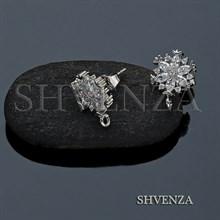 Пуссеты - гвоздики Снежинки цвет серебро 004-064
