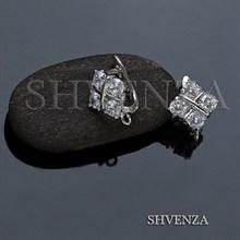 Швензы родиевое покрытие английский замок цвет серебро 014-250
