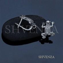 Швензы лягушки родиевое покрытие английский замок цвет серебро 014-255