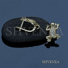 Швензы лягушки родиевое покрытие английский замок цвет золото 013-152