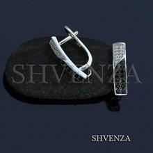 Швензы родиевое покрытие английский замок цвет серебро 014-261