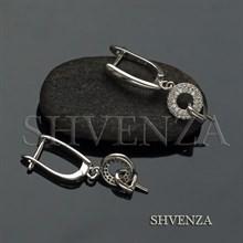 Швензы со штифтом родиевое покрытие английский замок цвет серебро 014-264