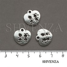 Подвеска металлическая Сердце цвет серебро 005-028