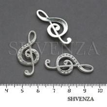 Подвеска металлическая Скрипичный ключ цвет серебристый 005-037