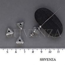 Металлические бусины треугольники цвет античное серебро 007-113