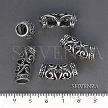 Металлические бусины трубочки ажурные цвет античное серебро 007-118