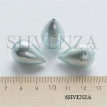 Жемчуг хлопковый полупросверленный крупный цвет бирюзово-голубой 023-021