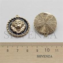 Подвеска Лев цвет золото с чёрной эмалью 021-135