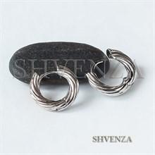 Швензы-бублики для серёжек-трансформеров родиевое покрытие цвет серебро 017-119