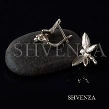 Швензы Стрекозы родиевое покрытие цвет серебро английский замок 014-276